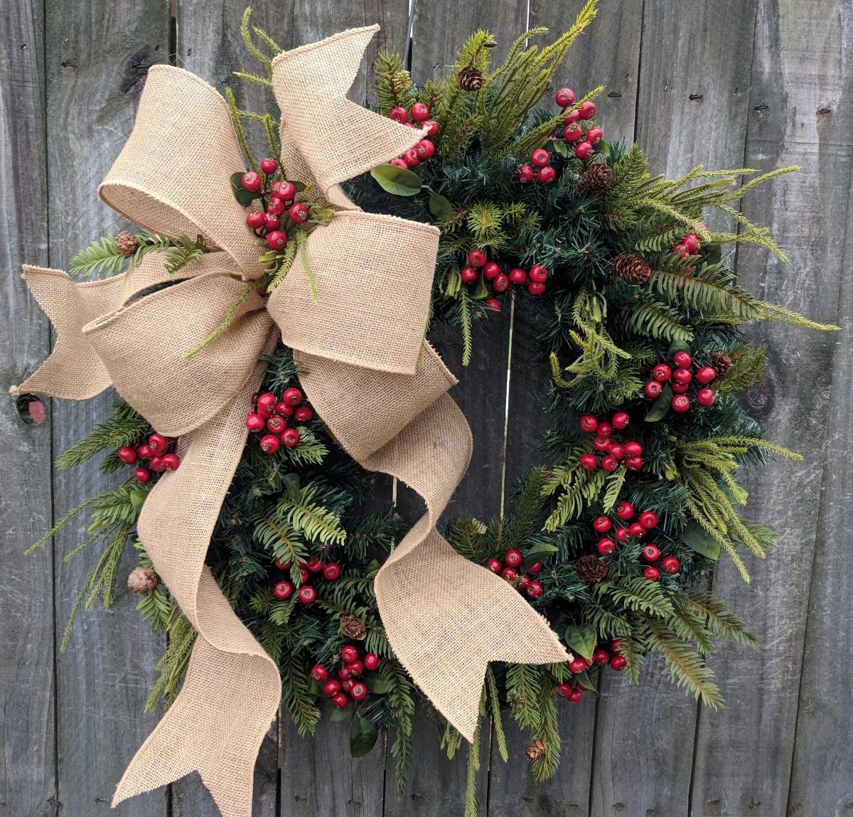 christmas wreath wreath burlap wreath burlap christmas and winter wreath woodland wreath natural christmas decor - Burlap Christmas Wreath