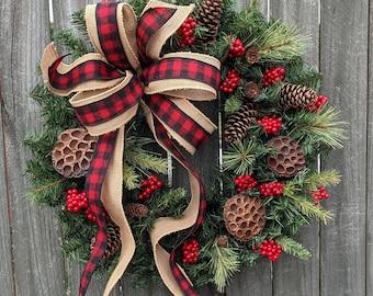 Christmas Wreath, Buffalo Check Burlap Wreath, Black and Red Check Natural  Christmas wreath, Red Berries, Christmas Pinecones and Pods