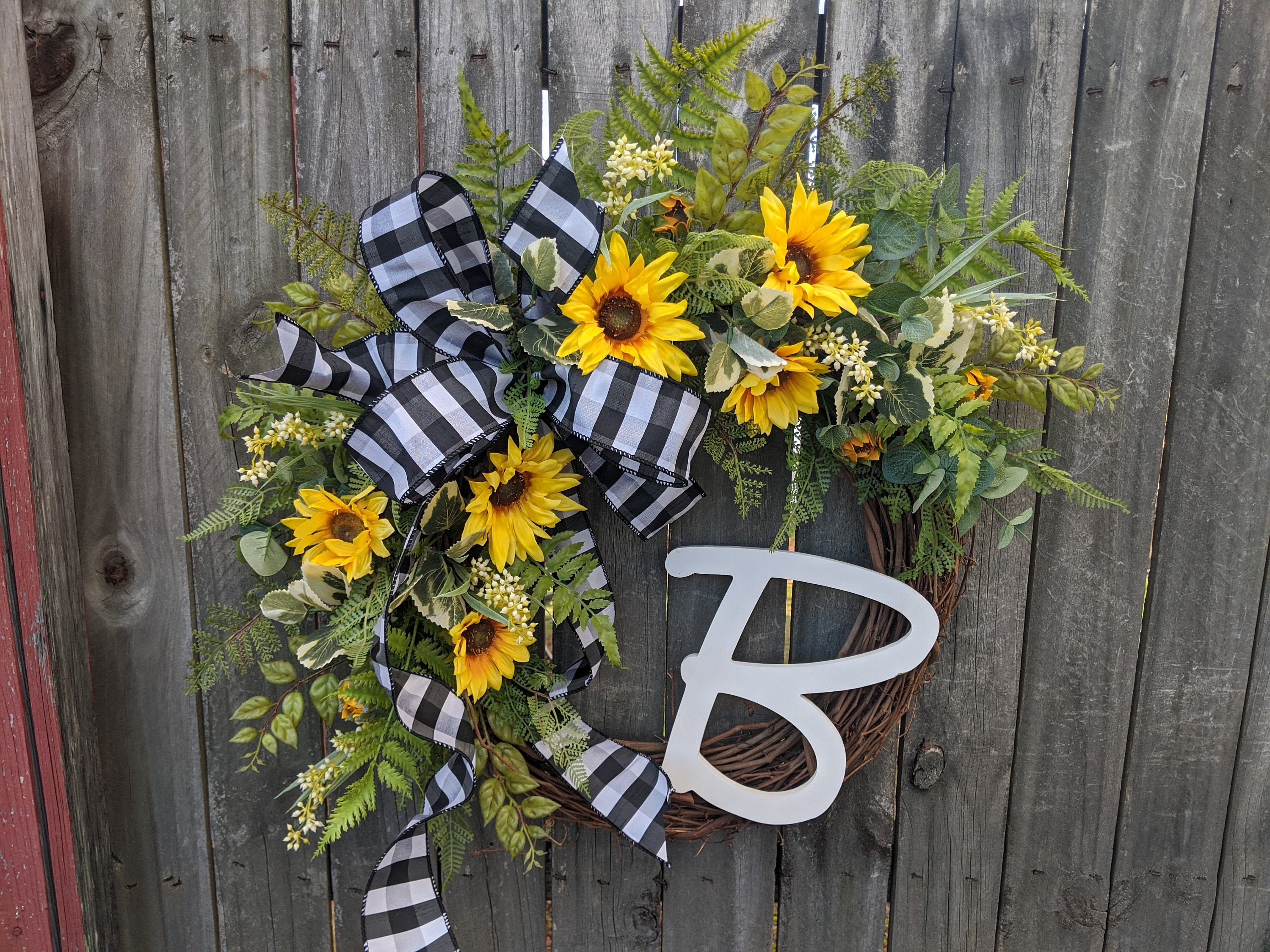 Front Door Wreath Door Wreath Spring Wreath Sunflower Wreath Spring And Summer Wreath Monogram Wreath Burlap Wreath Burlap Bow
