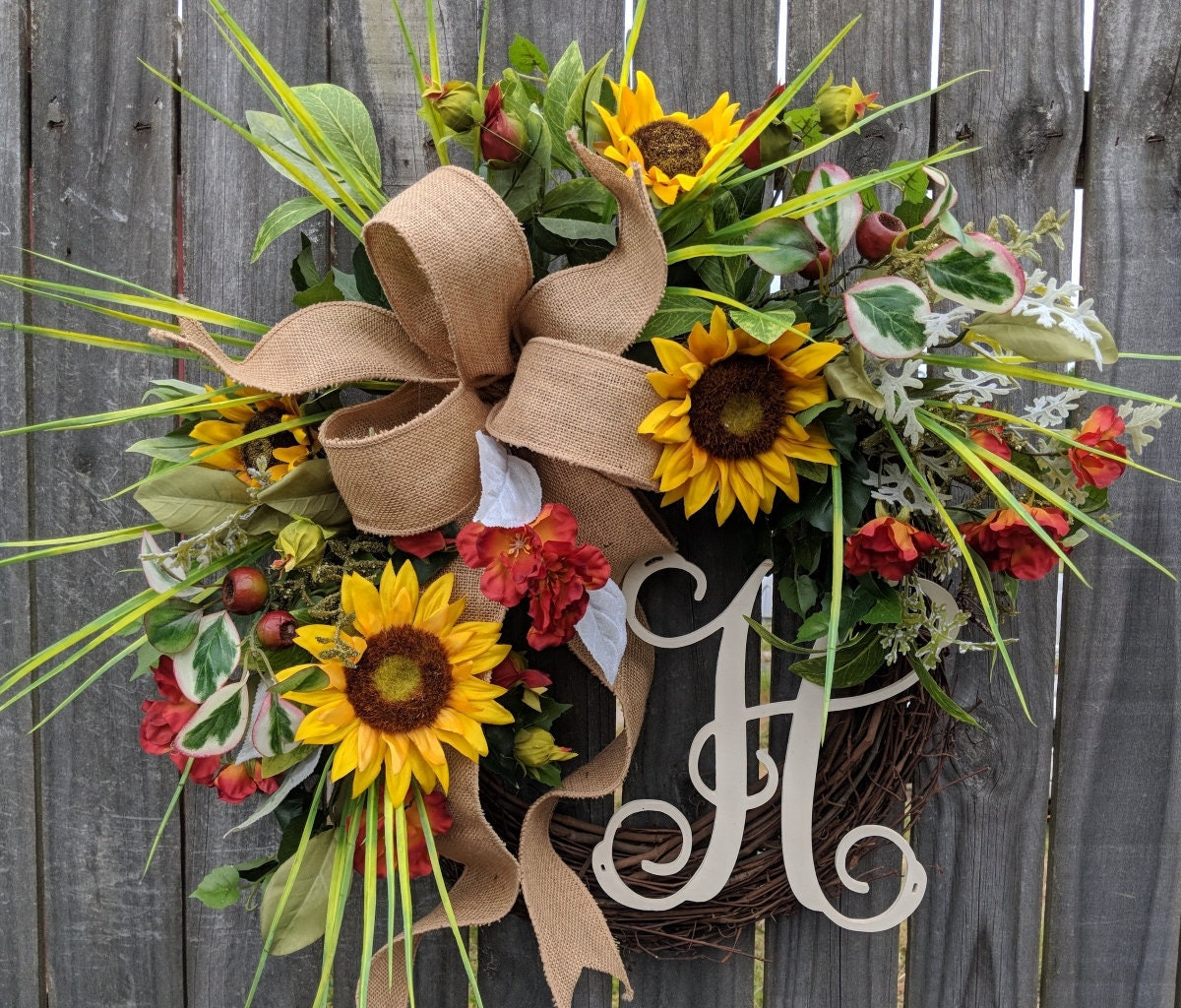 Summer Wreath Spring Summer Sunflower Wreath Monogram Wreath Grassy Fields Wreath Burlap Sunflower Wreath