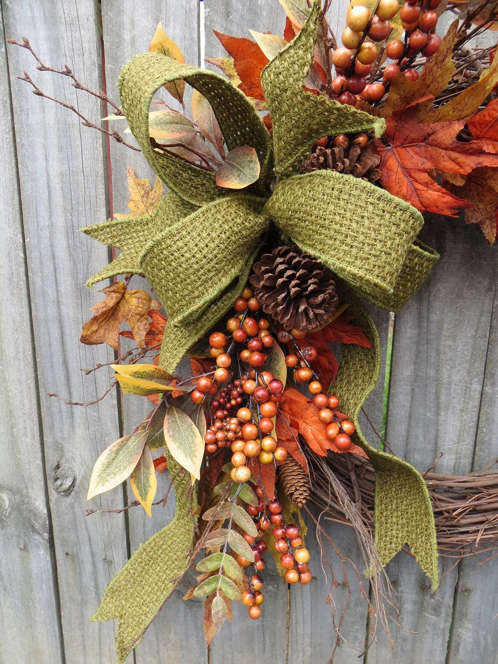Green Fall Bow Basket Weave Jute Ribbon Sturdy Wire Fall Wreath Bow Everyday Bow Bow Only