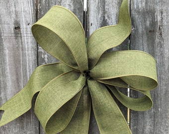 Green Bow for Wreath, Moss Green Bow, Everyday color, Fall, Christmas, Spring Wreath Bow