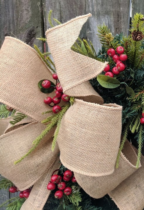 burlap bow wired burlap ribbon 4 wide burlap ribbon bow for wreath christmas bow spring wreath bow summer bow fall bow messy bow