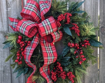 Christmas Wreaths / Holiday Door Wreath with Sparkle Accent/ Natural Pine and Berries Christmas Wreath / Christmas Wreath, Door Wreath
