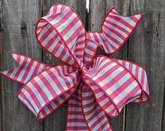 Bow for Wreath, Pink, Pale Blue Yellow Check, Unique Wreath Bow. Spring Plaid Bow