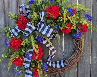 Wreath, Spring Buffalo Check Wreath, Red and Purple Wreath, Black and White Wreath, Mother's Day Gift, Wreath for Spring and Summer, Wreath