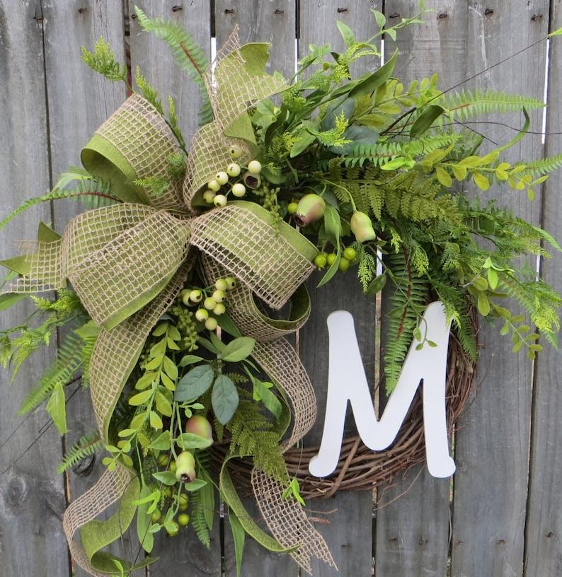 Spring / Summer / Fall Wreath  Everyday Wreath  Monogram image 0