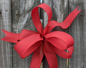 Small Linen Bow, Mini Wired Bow, 1.5 in Width Ribbon Bow for Spring, Summer, Fall, Christmas, Simple Informal Bow, Red, Pink, Green, brown