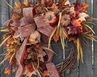 Fall Wreath, Fall Berry Wreath, Fall Leaf Wreath, Fall Pumpkin Bow Wreath