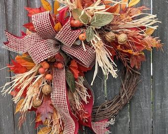 Fall Wreath, Fall Scarecrow Wreath, Fall Leaf Wreath, Fall burlap Wreath, Halloween Harvest Thanksgiving Wreath, Straw, Walnuts, Berries
