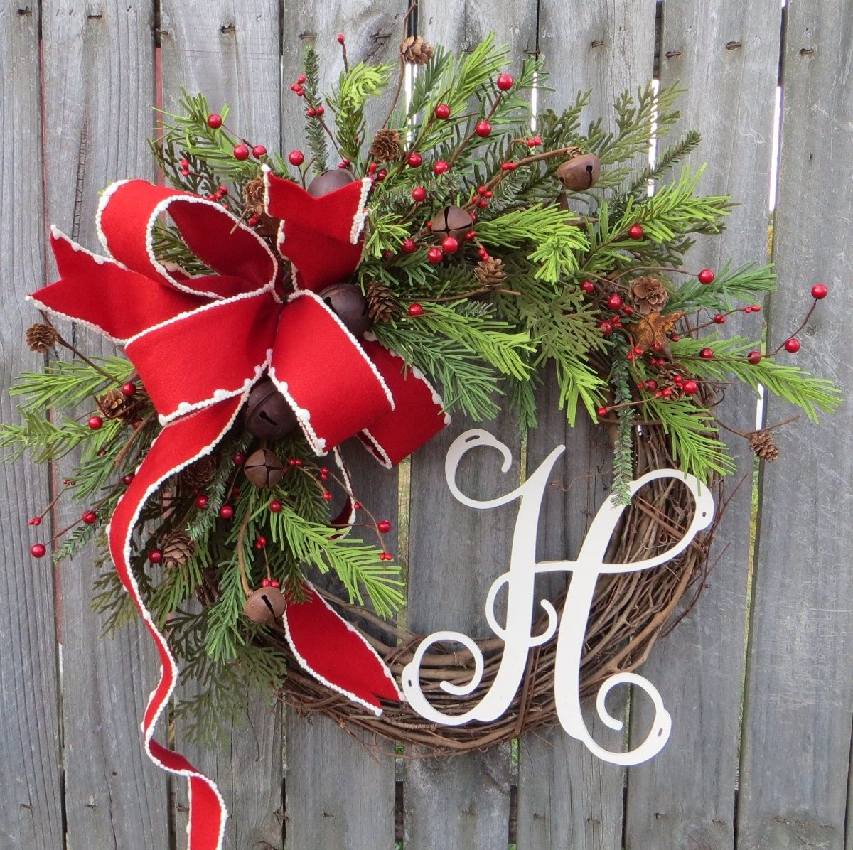 Christmas Grapevine Wreath With Rustic Bells Christmas Wreath Holiday Wreath Christmas Wreath Monogram Christmas Wreath Wreath Initial
