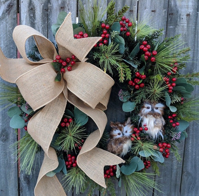 Christmas Wreath Owl Wreath Burlap Owl Wreath Burlap Color Christmas And Winter Wreath Woodland Owl Wreath Natural Christmas Decor