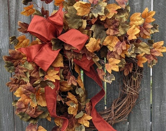 Fall Wreath, Fall Leaves Wreath, Fall Browns Golds Wreath, Fall Burlap Muted Colors wreath, Bow Wreath
