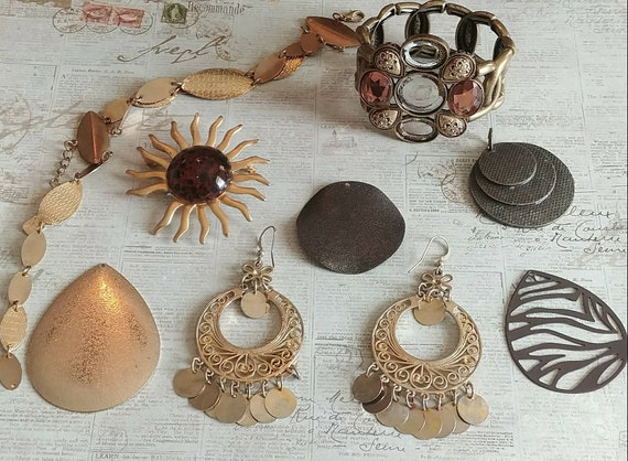 Gold And Copper : Gold and copper oken jewelry lot for parts repair arts etsy