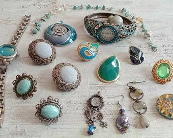 Hues of greens and blues.. destash Jewelry lot for repurpose or repair