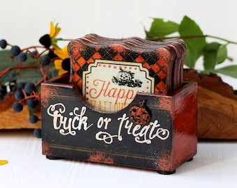 Halloween Decor Drink Coaster & box Trick-or-Treat