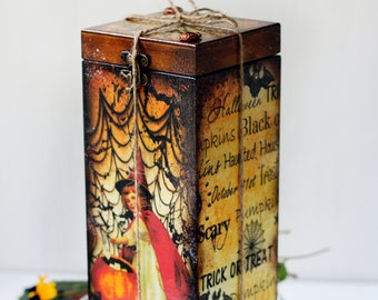 Little Witches Halloween Decor Wine Box, Hostess Gift