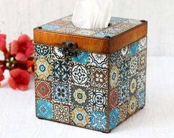 Tissue box Cover Azulejos Tiles Style Blue, white, brown and bronze dots painting, MADE TO ORDER