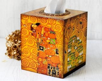 Tissue Box Сover Gustav Klimt Inspired The Kiss and Tree of Life