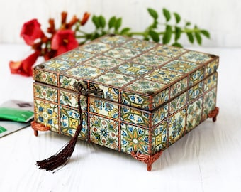 Tea Box Azulejos Portugueses Green Tiles Style with yew wood colored and copper points ,4 compartment tea box