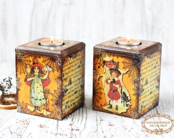 Little Witches Halloween Decor Candle Holders Box