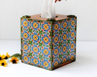 Tissue Box Cover Azulejos Portugueses Tiles Style with yellow flowers and green dots