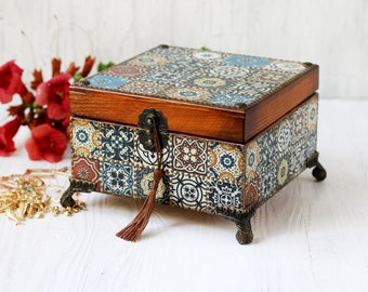 Jewelry box Azulejos Tiles Style Blue, white, brown and bronze dots, MADE TO ORDER