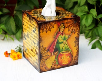Little Witches Halloween Decor Wooden Tissue Box, Fall Tissue Kleenex box cover , MADE TO ORDER