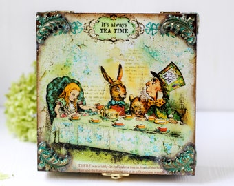 Alice in Wonderland Mad Hatters Tea Party Wooden Tea Box with decorative elements