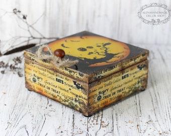 Halloween Tea Box, Trick-or-Treat  Halloween Rustic Home Decor