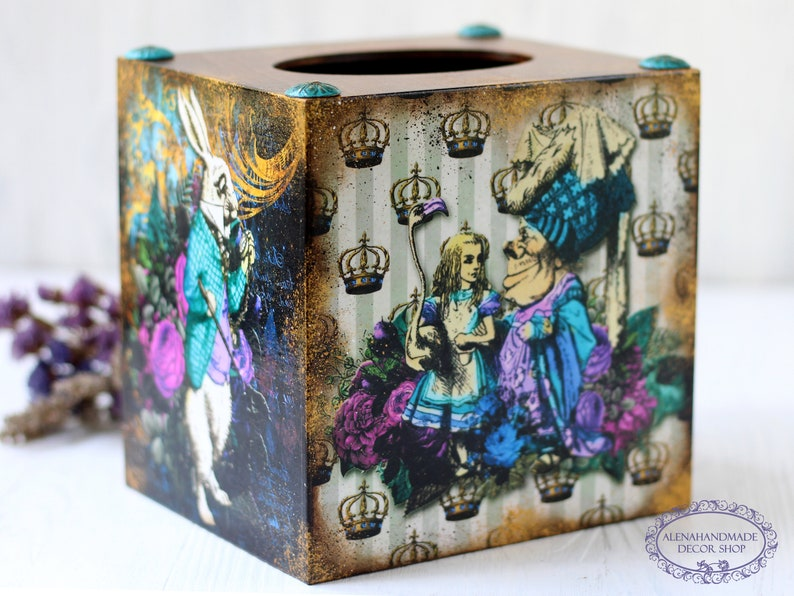 Mad Hatters and Alice with flamingo Dark Alice in Wonderland Tissue Box Cover Queen of Hearts White Rabbit