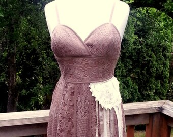 ead3d88c044 Taupe Lace Dress - Boho Dress - Floor Length Long Sundress - Shabby Chic - Rustic  Country Wedding Original One of a Kind - Beach Wedding