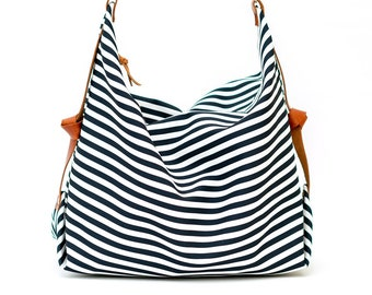 Stripe canvas diaper bag, Messenger bag, Personalised bag, Marina Navy Blue