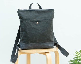 Waxed canvas backpack, waxed canvas handbag, canvas day pack, Backpack CYKEL forest green