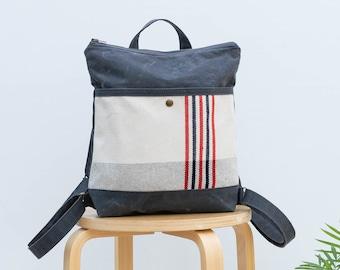 Waxed canvas backpack, waxed canvas handbag, canvas day pack, Backpack CYKEL stripes