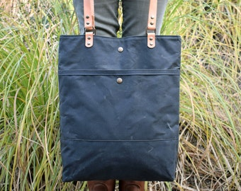 Waxed canvas Tote bag, Shopping and commute bag, Tote Basic Forest Green