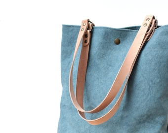Waxed canvas Tote bag, Shopping and commute bag Blue