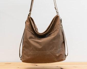 Waxed canvas convertible bag, Diaper bag, Convertible backpack Brown