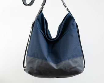 Waxed canvas convertible bag, diaper bag and convertible backpack, messenger and laptop bag Navy & Grey