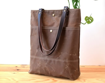 Waxed canvas Tote bag, Shopping and commute bag, Tote Basic Brown