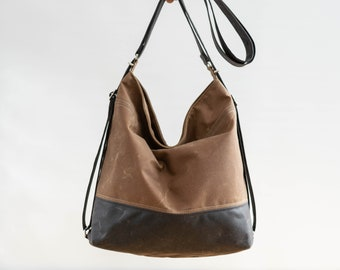 Waxed canvas convertible bag, diaper bag, convertible backpack Toffee & Chocolate