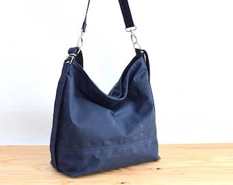 Waxed canvas convertible bag, Diaper bag, convertible backpack Deep ocean