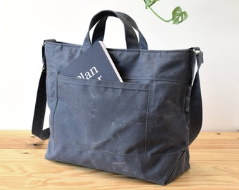 Waxed canvas  messenger bag, Commute, crossbody, diaper and laptop bag - The Worker bag