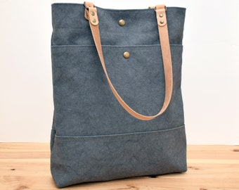 Waxed canvas Tote bag, Shopping and commute bag, Tote Basic Grey