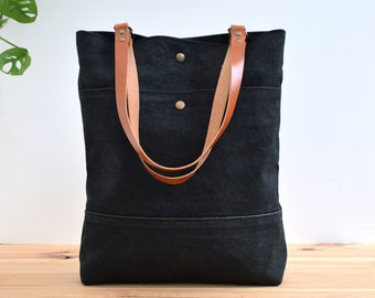 Black Waxed canvas Tote bag, Shopping and commute bag, Tote Basic