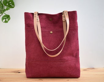 Waxed canvas Tote bag, Shopping and commute bag, Tote Basic Cherry