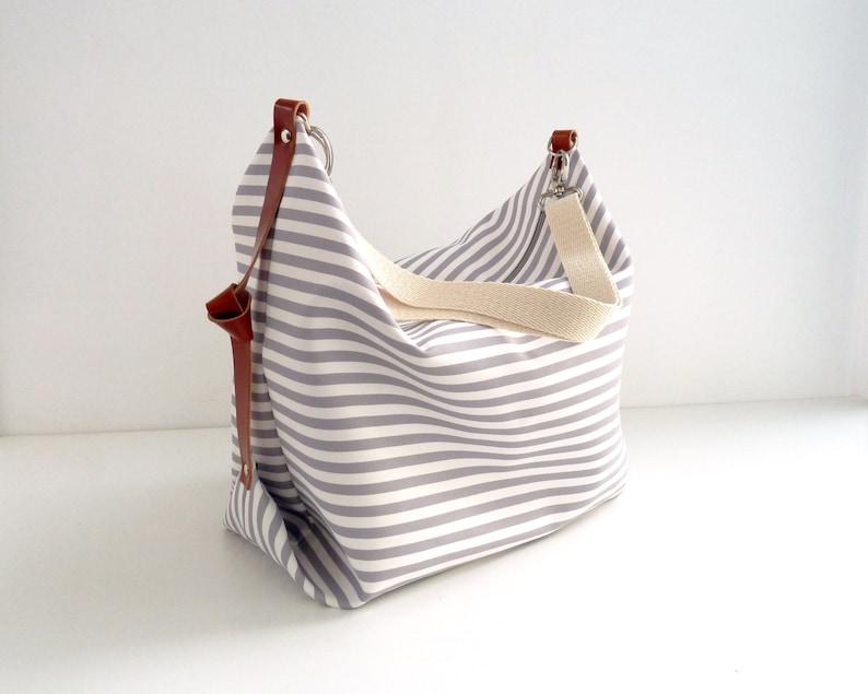 Stripe canvas diaper bag Messenger bag Personalised diaper image 0