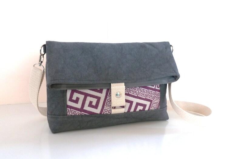 Messenger and crossbody bag Waxed canvas fold over bag