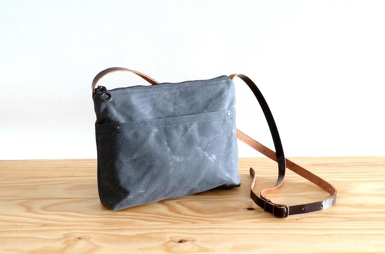 Waxed canvas crossbody day bag mini bag grey Standard version
