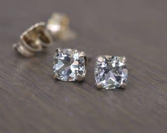 Aquamarine Earrings, 1ct tw square cushion cut beryl prong post stud